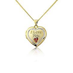 Precious Moments - Silver, stone-set 'I love you' locket