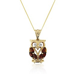 Precious Moments - 9ct gold garnet and diamond 'owl' pendant