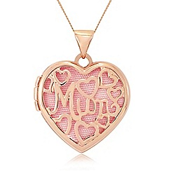 Precious Moments - 9ct rose gold 'mum' locket with pink insert
