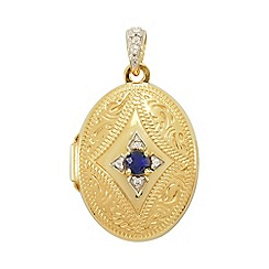 Precious Moments - 9ct Gold Ladies Locket Set with Blue Created Sapphire
