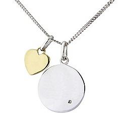 Precious Moments - Silver and 9ct gold diamond set pendant