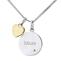 Precious Moments - Silver and 9ct gold diamond set 'mum' pendant