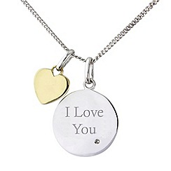 Precious Moments - Silver, 9ct gold diamond set 'i love you' pendant