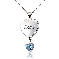 Precious Moments - Silver, blue topaz 'Love' locket