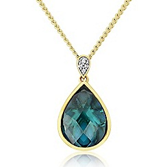 Love Story - 9ct Gold Plated on Sterling Silver Stone-Set Pendant