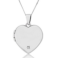 Precious Moments - Sterling Silver Diamond Set Heart Locket