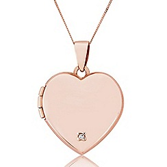 Precious Moments - 9ct Rose Gold Locket Set With Diamond