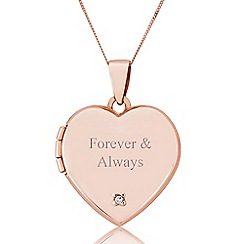 Precious Moments - 9ct Rose Gold Diamond Set 'Forever & Always' Locket