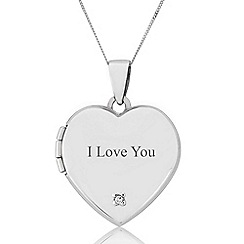 Precious Moments - Sterling Silver Diamond Set Heart 'I Love You' Locket