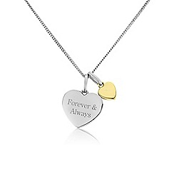 Precious Moments - Silver and 9ct gold 'Forever & always' pendant