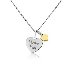 Precious Moments - Silver 9ct gold ladies 'I love you' pendant