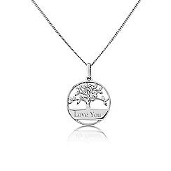 Precious Moments - Silver family tree of life 'Love you' pendant