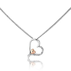 Love Story - Sterling silver heart pendant with rose rhodium