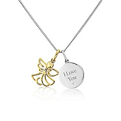 Precious Moments - Sterling silver 'I love you' angel pendant