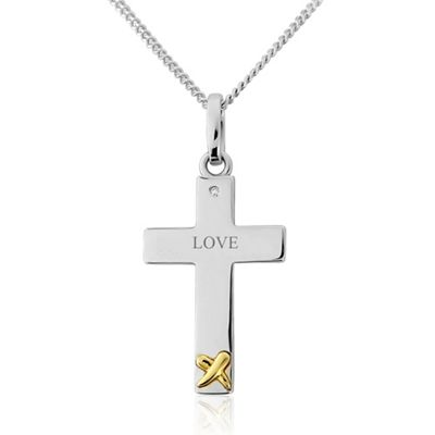 Precious Moments Sterling Silver and 9ct Gold Cross Stone