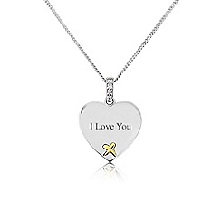 Precious Moments - Sterling Silver And 9ct Gold 'I Love You' Pendant