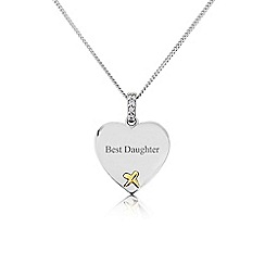 Precious Moments - Sterling Silver And 9ct Gold 'Best Daughter' Pendant