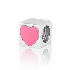 Love Story - Silver pink cube pendant