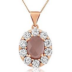 Precious Moments - 9ct rose gold quartz & stone set ladies pendant