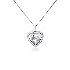 Precious Moments - Silver stone set 'I love you' pendant