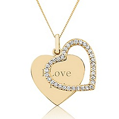 Precious Moments - 9ct Yellow Gold Stone-Set 'I Love You' Pendant
