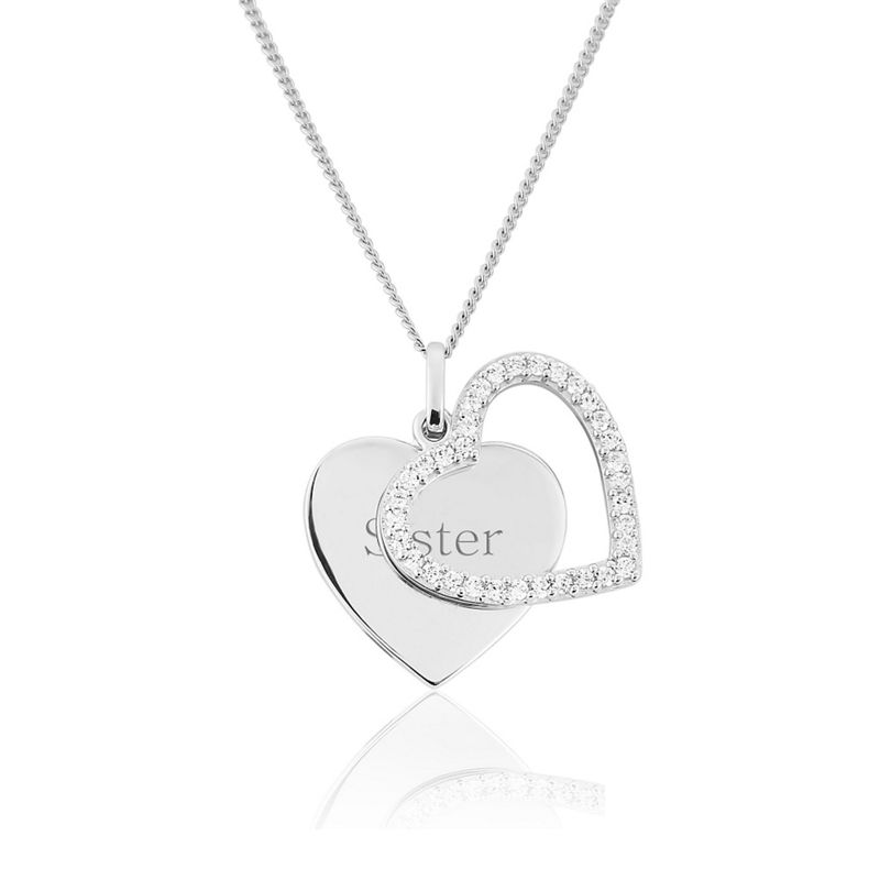 Precious Moments Sterling Silver Double Heart Stone set