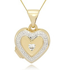 Love Story - 9ct gold cubic zirconia heart shaped locket