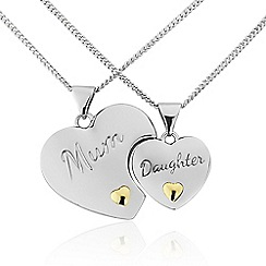 Precious Moments - Sterling Silver and 9ct Gold 'DAUGHTER'  'MOTHER' Split Pedants