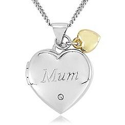 Precious Moments - sterling silver and 9ct gold 'mum' diamond-set locket