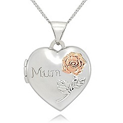 Precious Moments - sterling silver and 9ct rose gold 'mum' locket