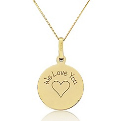 Precious Moments - 9ct Yellow Gold 'We Love You' Disc Pendant