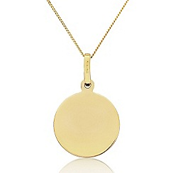 Precious Moments - 9ct Yellow Gold 10mm Circle Disc Pendant
