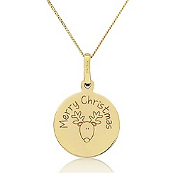 Precious Moments - 9ct  Gold 'Merry Christmas' Childs Reindeer Pendant