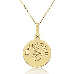 Precious Moments - 9ct Yellow Gold 'Merry Christmas' Childs Snowman Pendant
