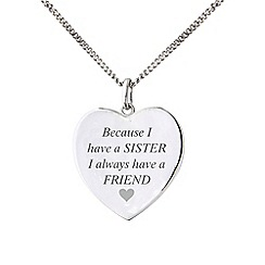 Precious Moments - Sterling Silver 'Sister and Friend' Heart Disc Pendant