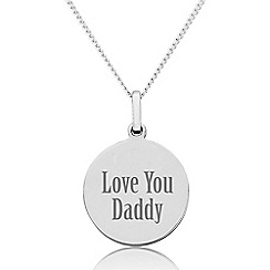 Precious Moments - Sterling Silver 'Love You Daddy' Disc Pendant