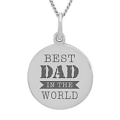 Precious Moments - Sterling Silver Gents 'Best Dad In the World' Message Pendant