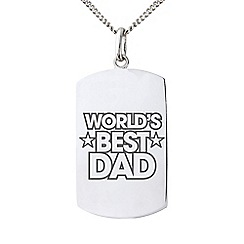 Precious Moments - Sterling Silver Gents 'World's Best Dad' Message Tag Pendant