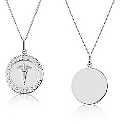 Precious Moments - Sterling Silver Medical 'Alert' Caduceus, Gents Message Pendant