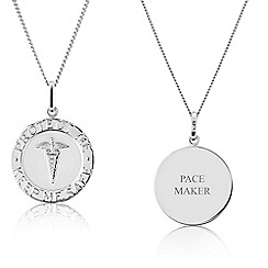 Precious Moments - Sterling Silver Medical 'Alert' Caduceus, Gents Message Pendant 'PACE MAKER'