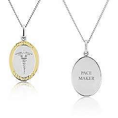 Precious Moments - Sterling Silver and Yellow Rhodium Gents 'PACE MAKER' Medical Alert 'Caduceus' Pendant