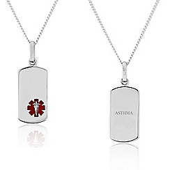 Precious Moments - Sterling Silver Gents Medical Alert 'Caduceus' Tag Pendant. 'ASTHMA'