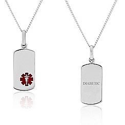 Precious Moments - Sterling Silver Gents Medical Alert 'Caduceus' Tag Pendant. 'DIABETIC'