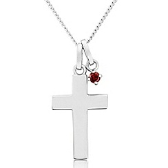 Precious Moments - Sterling silver cross pendant with red cubic zirconia charm