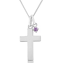 Precious Moments - Sterling silver cross pendant with purple cubic zirconia charm