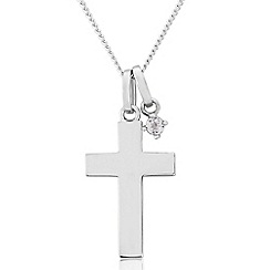 Precious Moments - Sterling silver cross pendant with spinel stone set charm