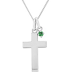 Precious Moments - Sterling silver cross pendant with dark green cubic zirconia charm