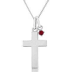 Precious Moments - Sterling silver cross pendant with created ruby charm