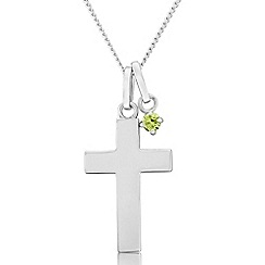 Precious Moments - Sterling silver cross pendant with green cubic zirconia charm