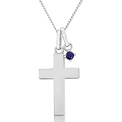 Precious Moments - Sterling silver cross pendant with created sapphire charm